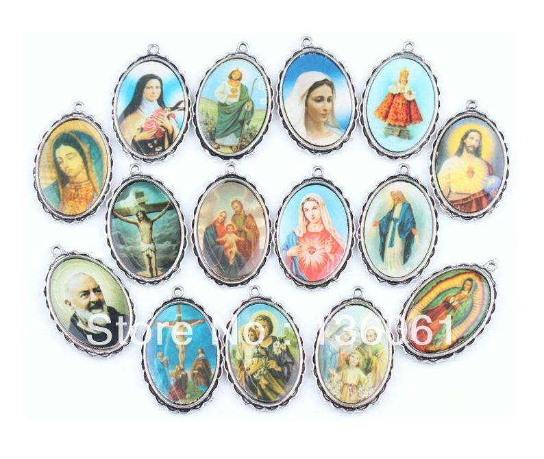 Vintage Silber Dangle Mix Katholizismus Rahmen Foto Virgin MaryJesus Charms Anhänger für Armband DIY Schmuckzubehör Geschenke HOT 50PCS Z1629