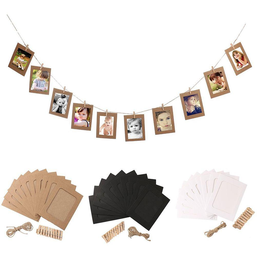 10pcs DIY 6inch Hanging Album Clip Kraft Paper Photo Frame Strings Rope Clips Sets for Wedding Decoration Garland (White)