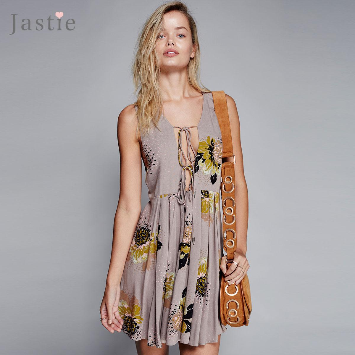 9a749450cc8f 2019 Wholesale Jastie Loveliest Day Tunic Mini Dress Flowy Plunging V Neck  Low Open Back Sexy Women Dresses Printed Sleeveless Boho Vestidos From  Cacy, ...
