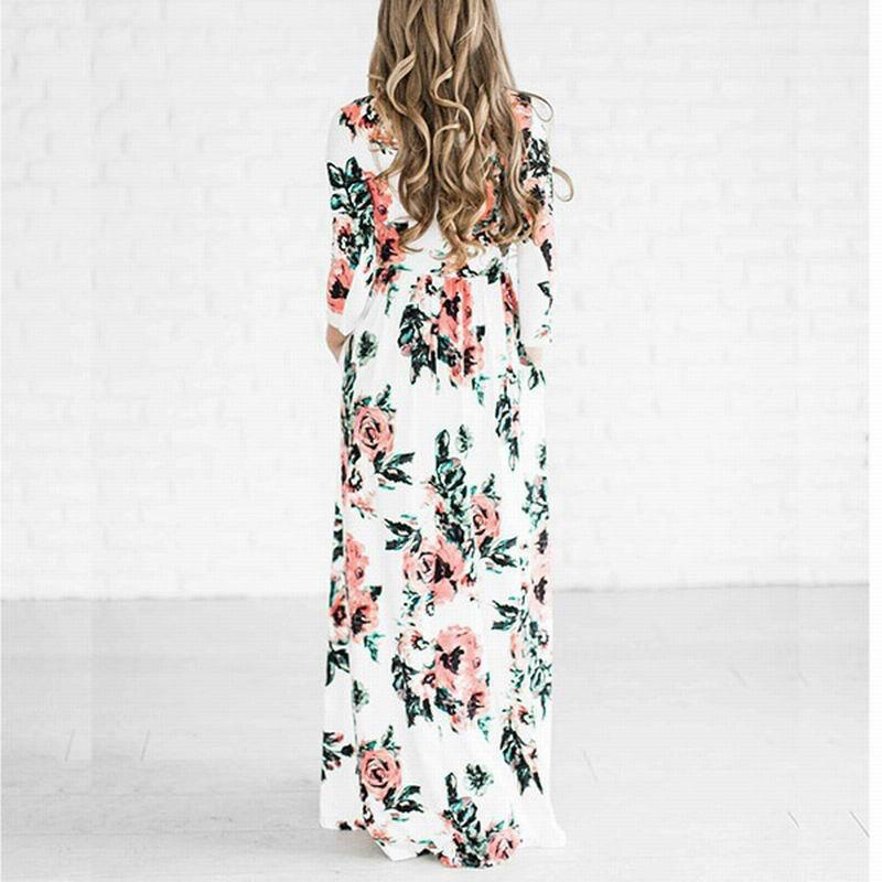 2018 New Maxi Dresses For Womens Boho Plus Size Ladies Casual Summer Beach Dress Floral Chiffon Long Evening Prom Party Cocktail