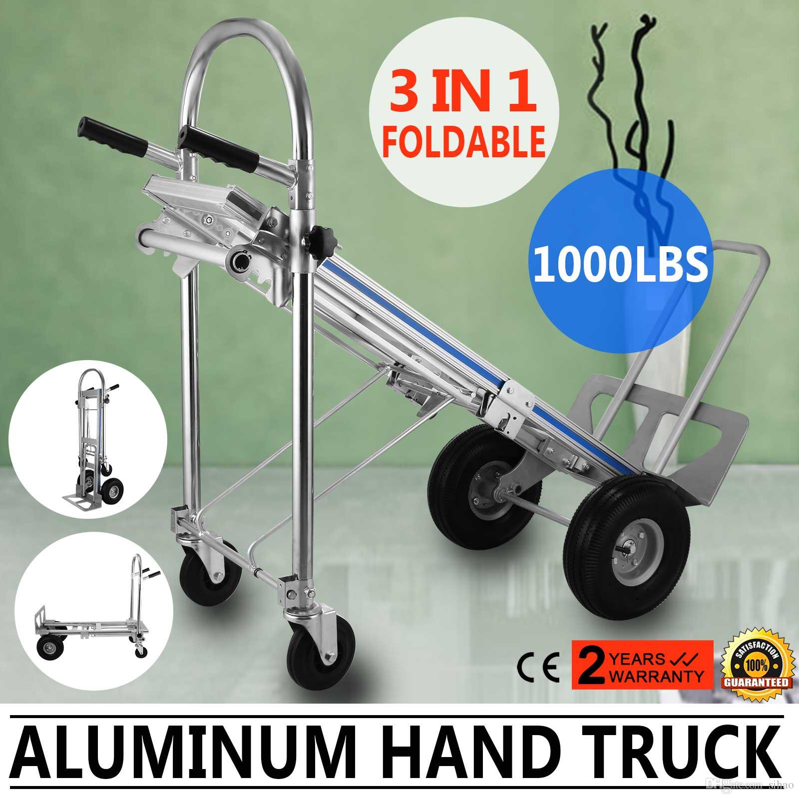 4cd068f21ec5 Aluminum Hand Truck 3 In 1 Folding Hand Trucks 1000LBS Convertible Hand  Truck and Dolly Utility Cart Heavy Duty with Flat Wheels (3 in 1)
