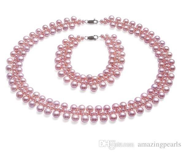 Свадебный Перл комплект ювелирных изделий 3 нити жемчуга в стерлингового серебра 925 подлинной пресноводной жемчужное ожерелье и браслет набор высокое качество драгоценных камней