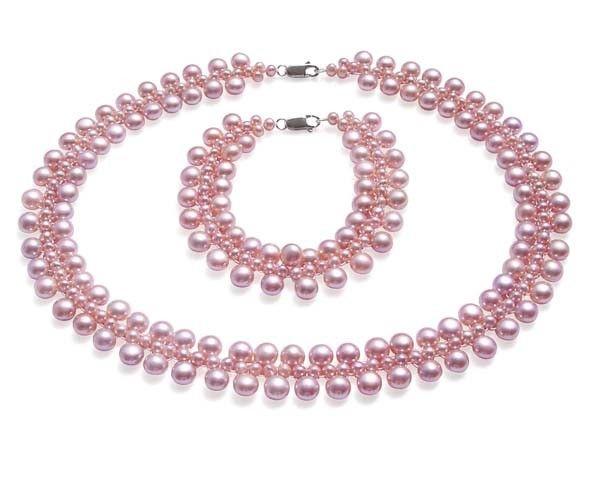 Nupcial pérola conjunto de jóias 3 vertentes de pérolas em 925 prata esterlina genuína colar de pérolas de água doce e pulseira conjunto de alta qualidade gemstone