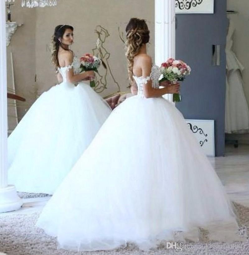 5f667b9c0e0 Vestido De Formatura 2017 Lace Ball Gown Vestidos De Casamento Grande Puffy  Pérolas Beading Formal Vestidos De Noiva Querida Decote Tule Vestidos  Árabes ...