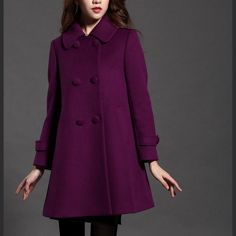 2018 plus size women wool coats elegant warm cotton padded wool
