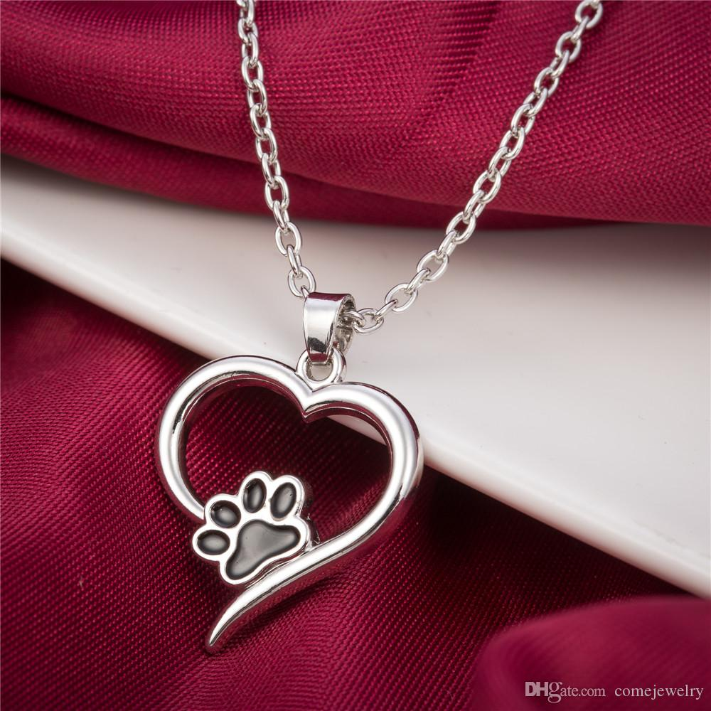 Fashion Special Design Love shape Cute Puppy Kitty Paw Print Black and blue Enamel Necklace Zinc Alloy Sliver Color Jewelry