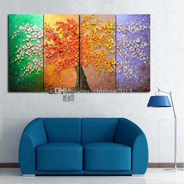 Color Flower Tree Painting Hand Painted Scenery Oil Painting on Canvas Modern Home Decoration