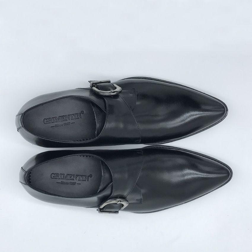 GRIMENTIN Hot sale brand classic buckle strap mens dress shoes genuine leather comfortable black male shoes men size:38-44 1SH180
