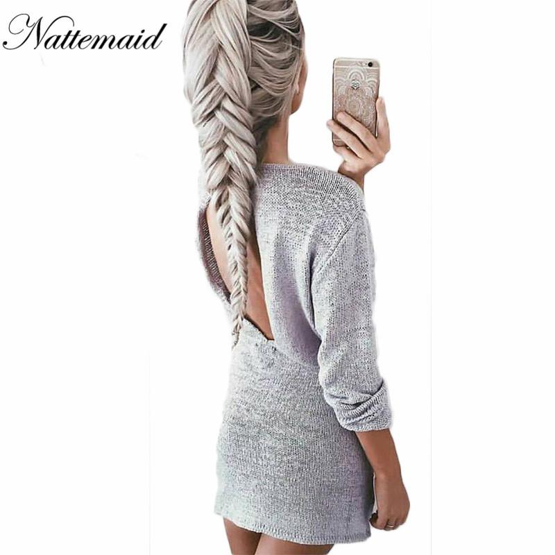 7bd780a5b8da 2019 Wholesale Sexy Knit Dress 2016 Women Winter Autumn Full Sleeve O Neck  Mini Sweater Dresses Ladies Casual Loose Knitted Vestidos From Edmund02, ...