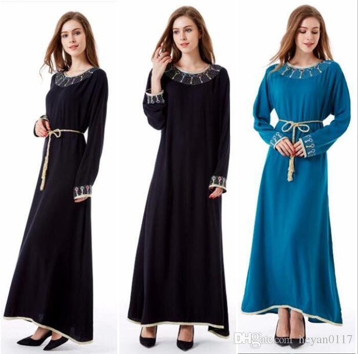 Acquista Musulmano Kaftano Maxi Nero Manica Lunga Abito Lungo Marocchino  Abbigliamento Islamico Abaya Arabo Dubai Jalabiya Autunno Accappatoio Donne  Abito A ... 8136725343a