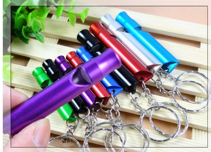 Small Dog Aluminum Alloy Outdoor Survival Whistle for Training Dogs Campaign Mountaineering Exploring Random Colors