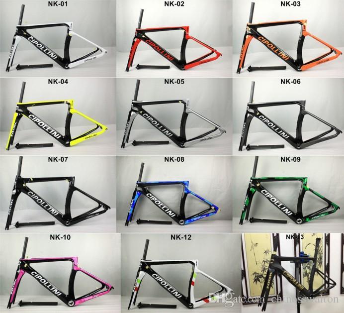 El marco más nuevo de la bici del camino del carbono del marco de MCipollini NK1K T1000 1K o 3k, tenedor, auriculares, tija de sillín Tamaño: XXS, XS, S, M, L, frameset de la bicicleta