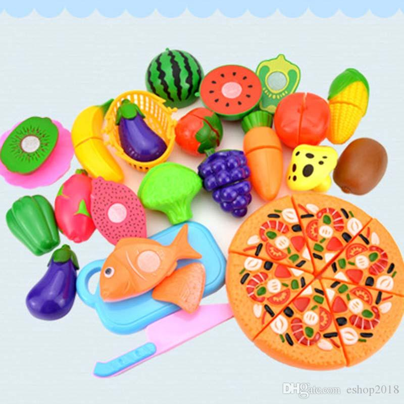 Plastic Fruit Vegetable Kitchen Cutting Toy, Cutting Early Development and Education Toy for Baby Kids Children