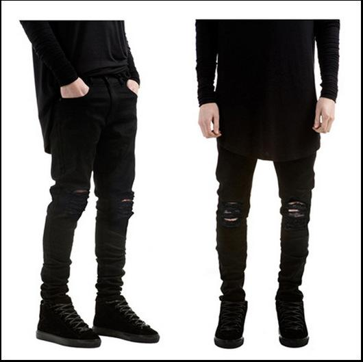 Jeans slim pour hommes High Street Pure Black Distressed Jeans élastiques Do Old Washed Pencil Pants Pantalon de moto Biker Denim Joggers