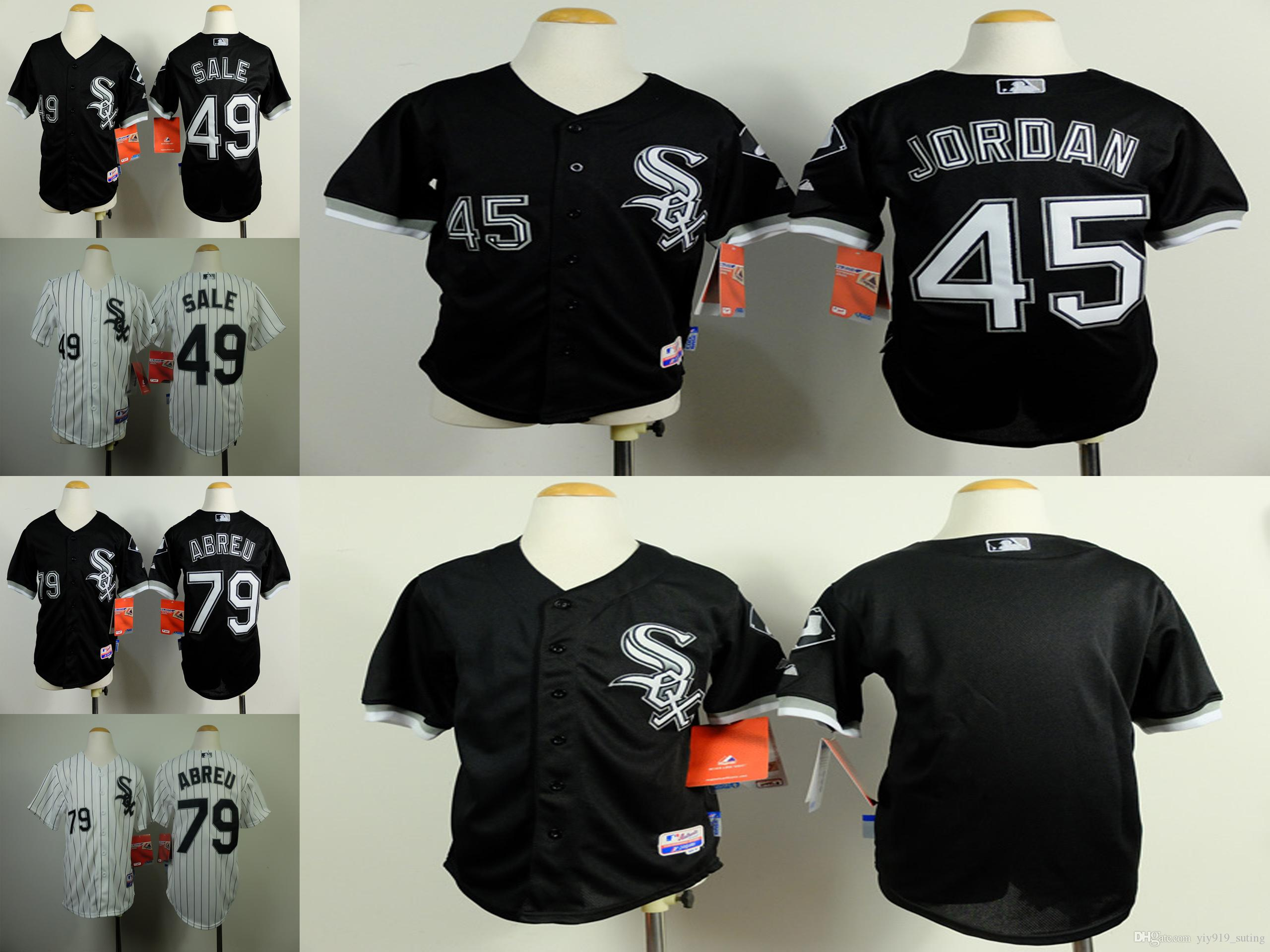 newest 182fa c8183 chicago white sox 45 michael jordan black kids jersey