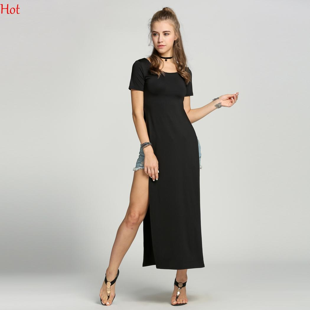 Summer Side High Slit Long T Shirt Women Sex Dress Long Sleeves Black White  Red New Fashion Clothing O Neck Party Dress Wholesale SV005973 Sweater  Dresses ... ae8810108d45