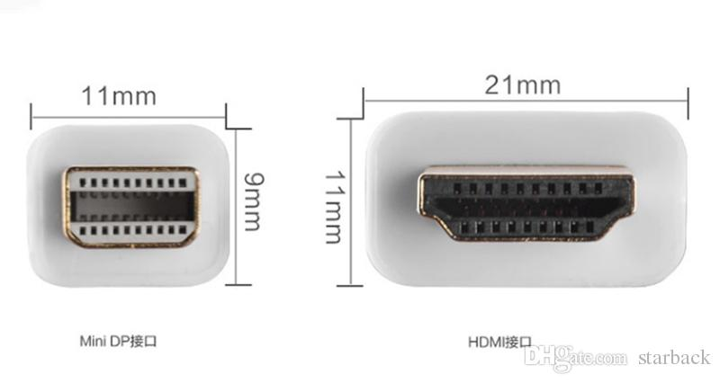 1.8 M 6FT Thunderbolt Mini Displayport DP HDMI Adaptörü Kablosu Erkek Kadın Apple Macbook Pro Hava Perakende Ambalaj ile