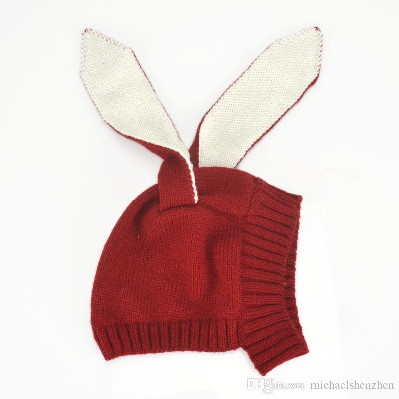 4 Renk INS Sonbahar Kış Yürüyor Bebek Örgü Bebek tığ Şapka Sevimli Tavşan Uzun Kulak Şapka Bebek Bunny Beanie Fotoğraf Dikmeler B001 Caps