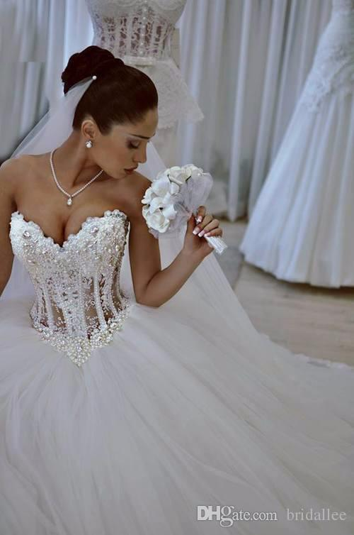 Luxurious Bling Strapless Wedding Dresses Corset Bodice Sheer Bridal ...