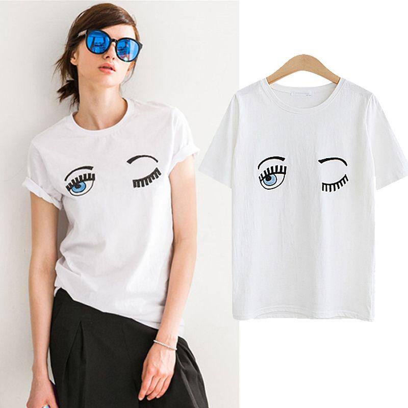 3e97d420 2017 Fashion Summer Cotton Women T Shirts Chiara Ferragni Big Eyes  Embroidery Sequins Loose Style T Shirts Women Casual Tops CS3 10 T Shirts  Cool Shirts ...