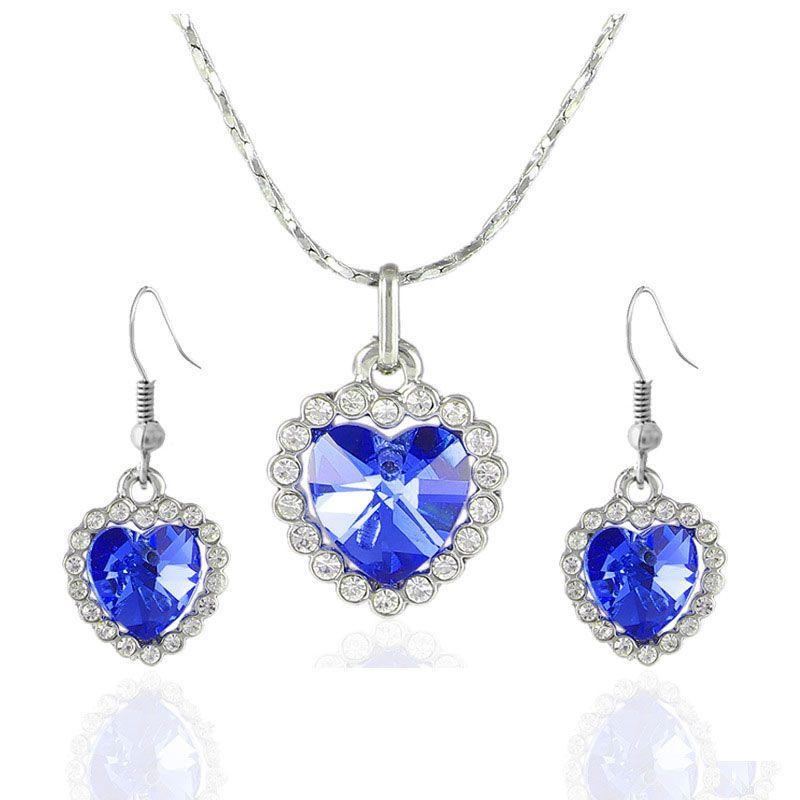 Sets Fashion Jewellery Ocean Heart 925 Crystal Sapphire Set