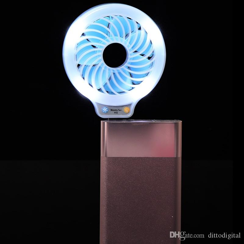 mini portable usb led fan small fan with selfie fill-in light led night light pocket usb fans without battery for power bank multi-purpose