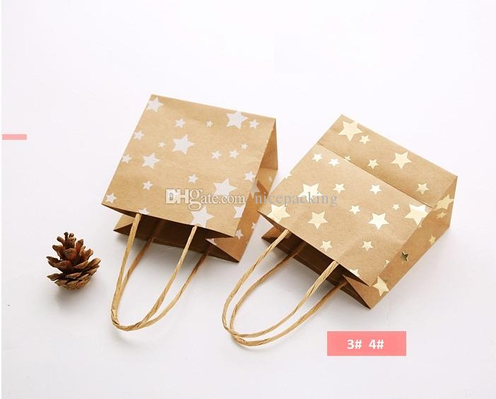 nice quality dot star printing kraft paper bag with handle gift/cookies/candy/jewellery/accessories packing