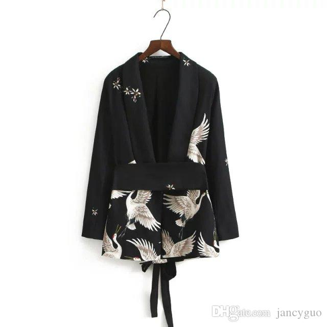 2018 2017 Fashion Women Suit Blazer Animal Crane Print Sashes Kimono Jackets  Ladies Office Wear Spring Autumn Outerwears Coat Top From Jancyguo, ...