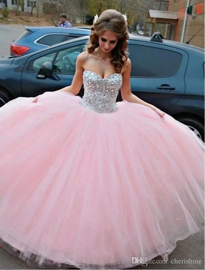 Compre Vestido De Novia Rosa Hermosa Vestido De Novia Sin Tirantes ...