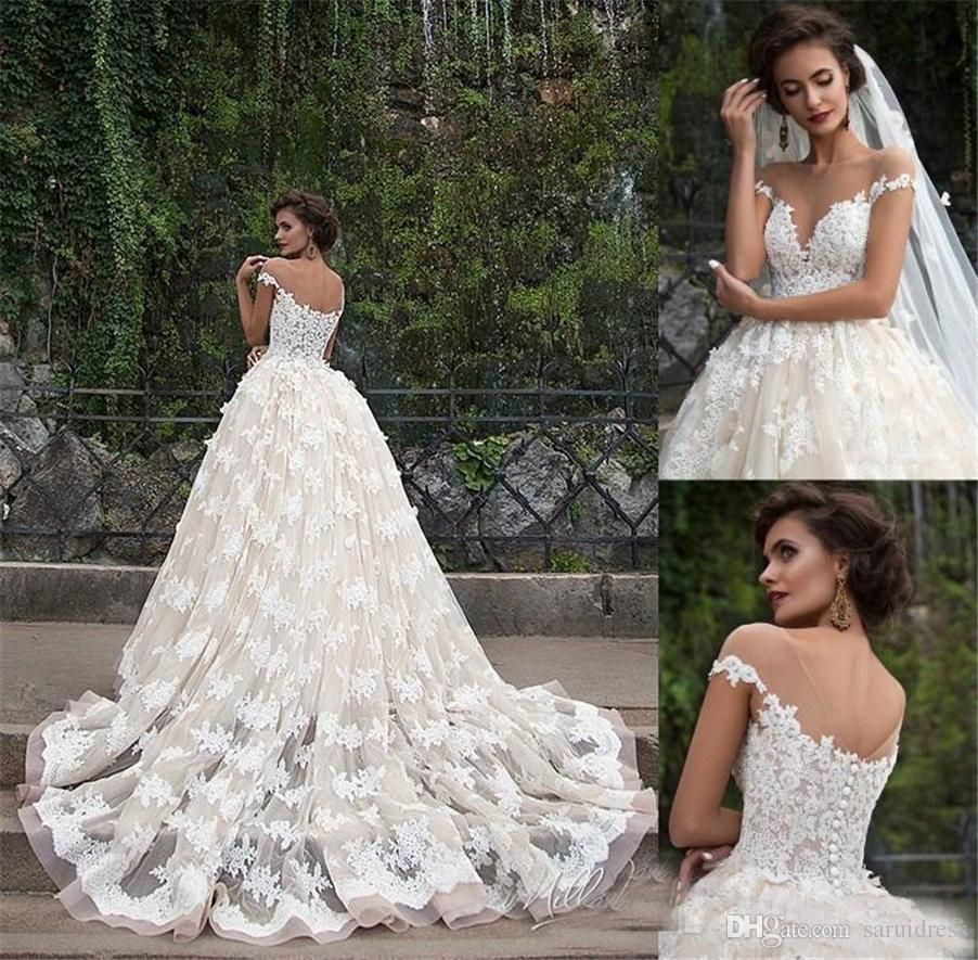 60ca750e71c8 Illusion Boat Neck Short Sleeves A Line Floral Appliques Plus Size Chapel  Train Bridal Gowns Champagne Retro Zuhair Murad Lace Wedding Dress Wedding  Dress ...