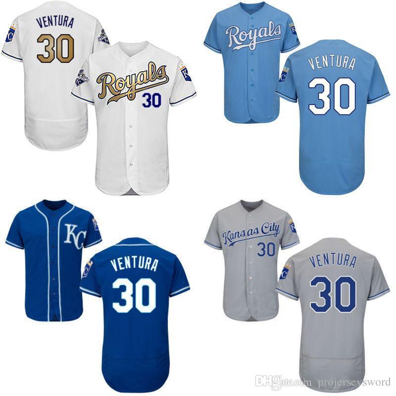 00a11d71d0e ... Mens Kansas City Royals 30 Yordano Ventura Jersey White Blue Gray Gold  100% Stitched Embroidery ...