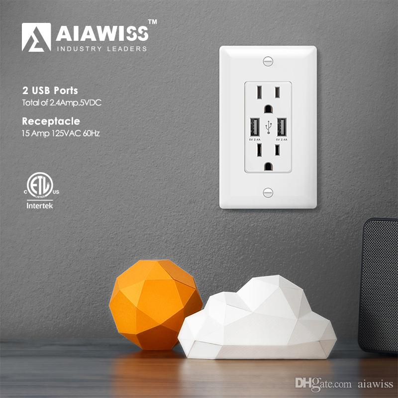 AIAWISS AWUS004 Smart Dual USB Charger Outlet 2.4A-12W Ultra-High ...