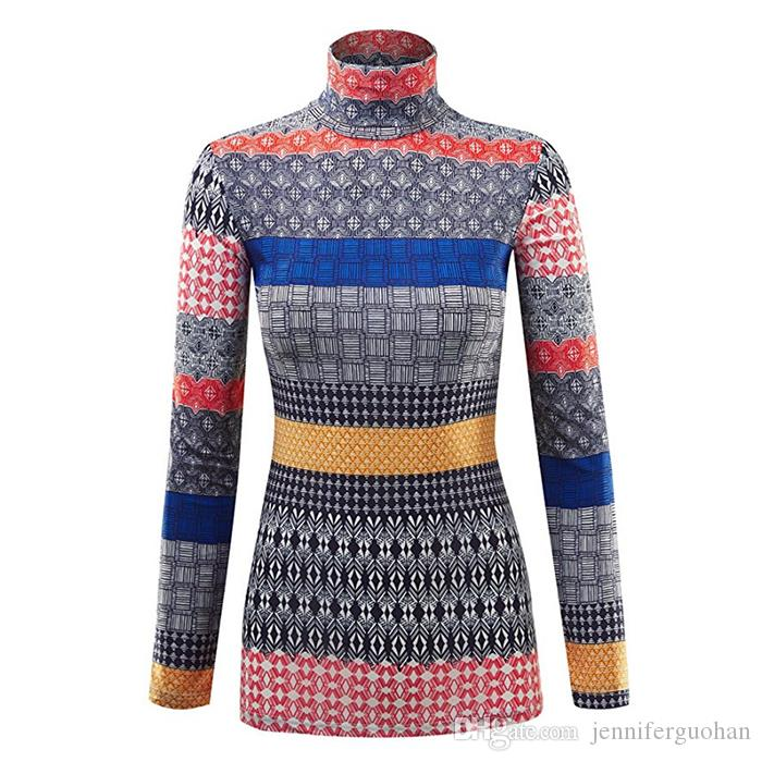 2018 Knitting Patterns Iridescence Sweater High Collar Ladies Laser
