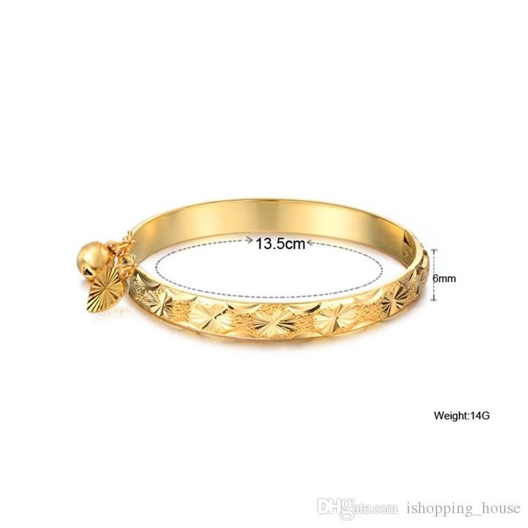 Europe and America Fashion 18K Yellow Gold Plated Allergic Free Bells Bracelet Bangle for Kids Children with Little Nice Gift BR-093