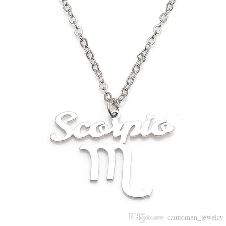 Wholesale new scorpio pendant necklace 304 stainless steel 12 wholesale new scorpio pendant necklace 304 stainless steel 12 constellations necklaces link chain women charm jewelry wholesale drop shipping personalized mozeypictures Image collections