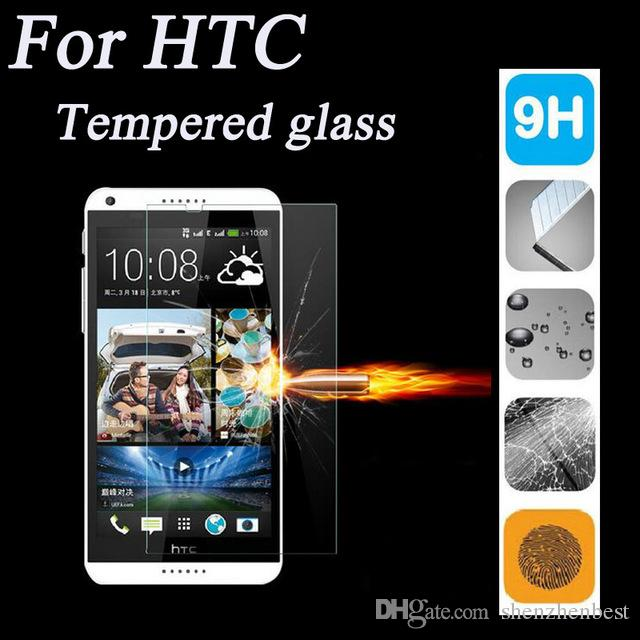 Vetro temperato da 0,26 mm HTC M7 / M8 / M9 / M9 plus / M10 / E8 / uno E9 / uno max / 320/526/601 9H Protezione schermo LCD infrangibile 100 pezzi