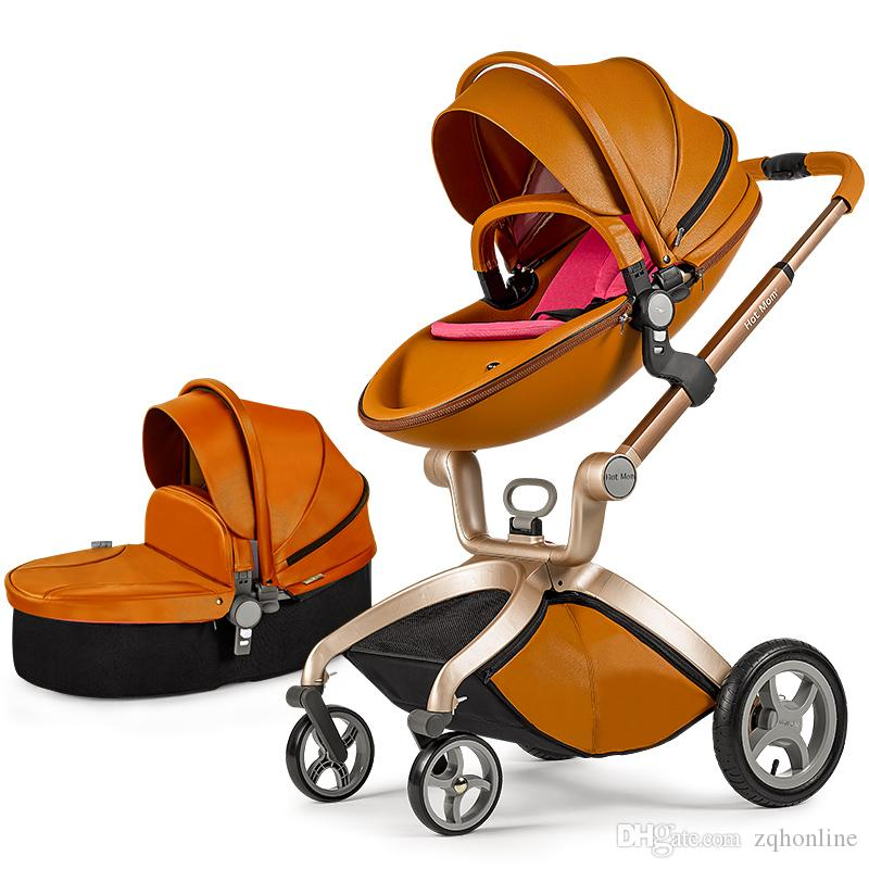 HotMom Brand Fashion PU Leather Baby Stroller Pushchair Egg Shaped Pram Baby Child Shock 4 Wheels Children Trolley Baby Carriage
