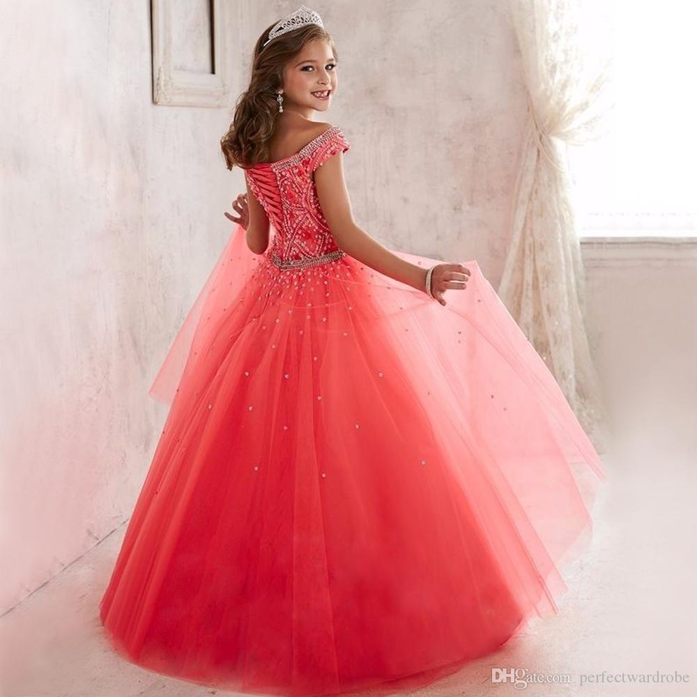Compre Niños Páginaant Vestido De Baile Vestido De Las Niñas Entrevista Desfile Trajes Vestidos De Largo Pageant Para Las Niñas Coral Vestido De Niña