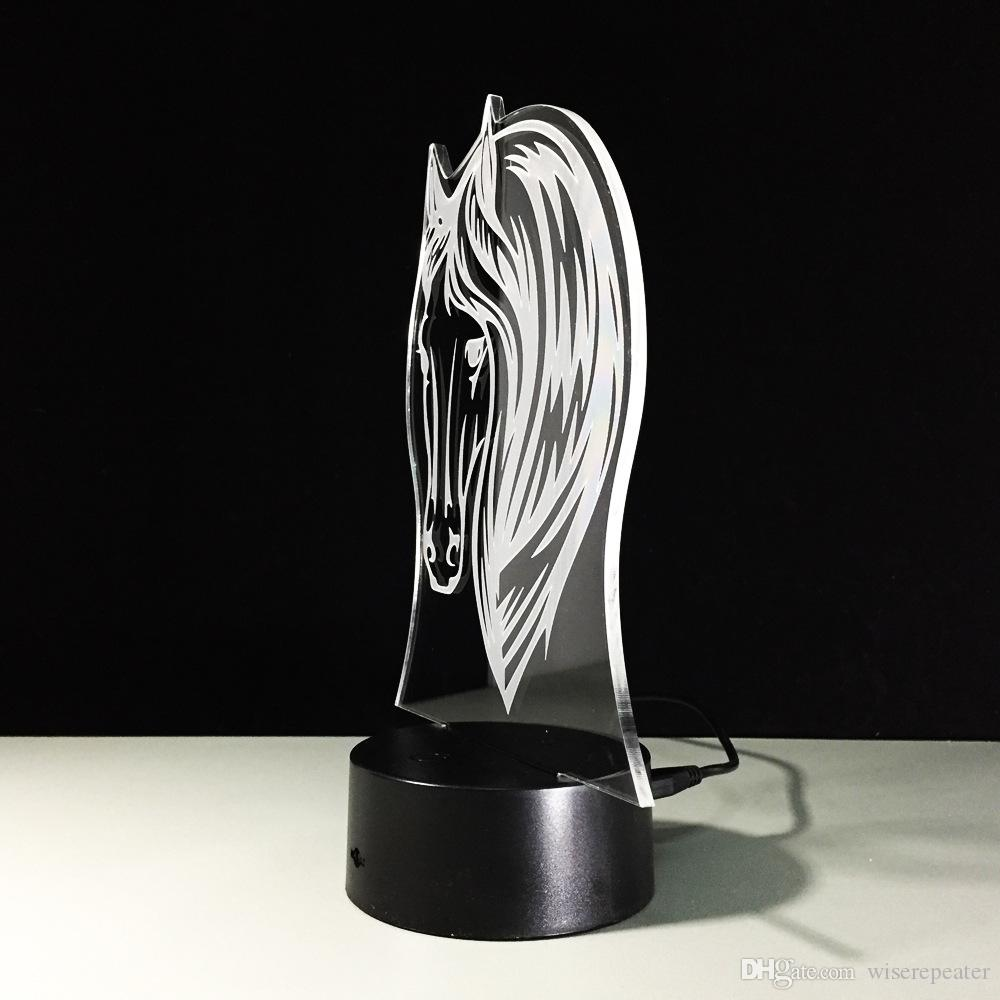 3D Horse Head Optical Illusion Lamp Night Light 7 RGB Lights DC 5V USB Charging AA Battery