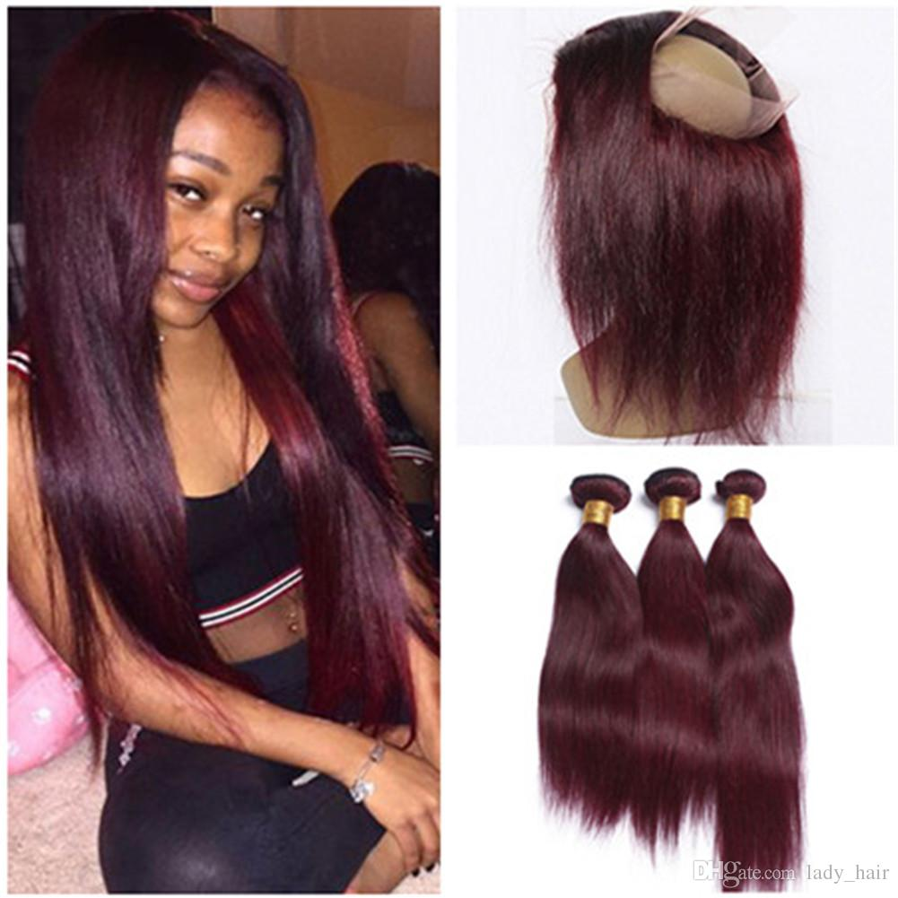Silky Straight Wine Red Full Frontal 360 Band Lace Frontal Closure 7d322ff291