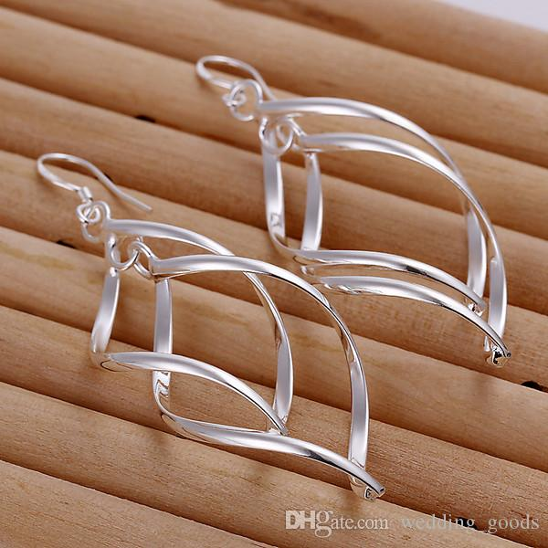 wedding Double banana-shaped sterling silver plate jewelry earring for women WE168,fashion 925 silver eaarings a