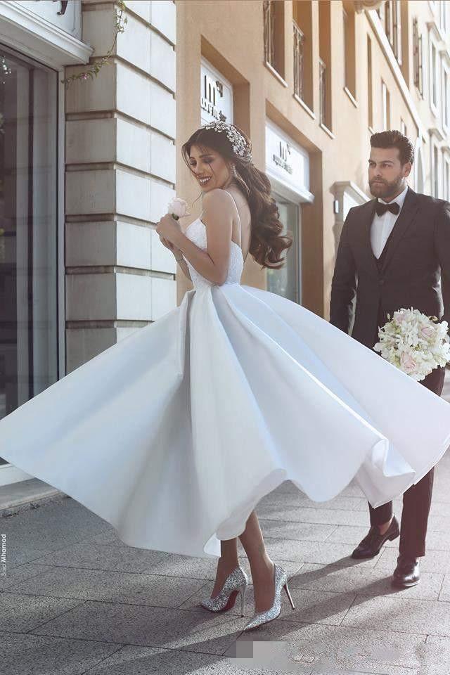 Discount Simple Design 2017 White Tea Length Wedding Dresses A Line ...