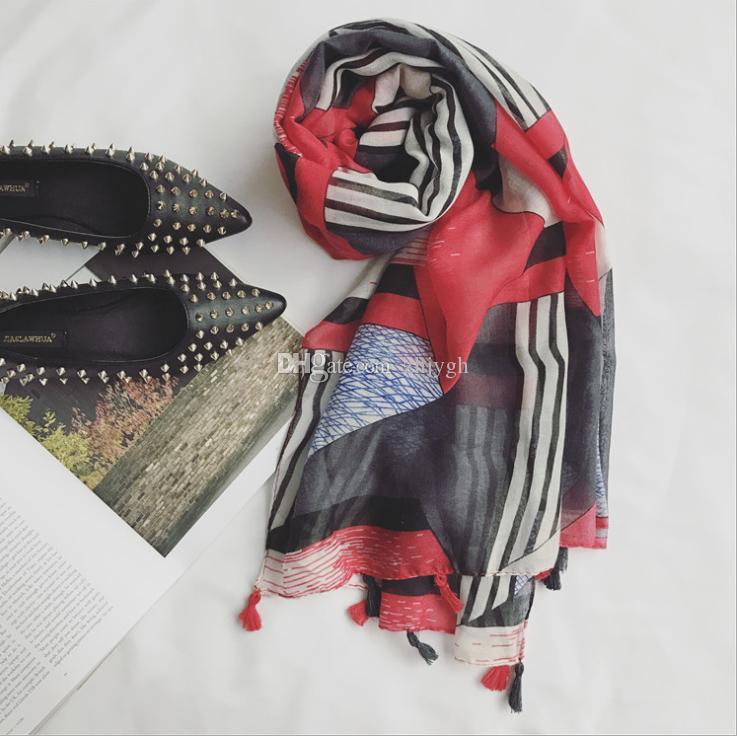 Großhandel Nepal Bali Garn Schals, weibliche Hand Anhänger verschiedene rote geometrische Kampf Farbe verlängert literarischen Schal