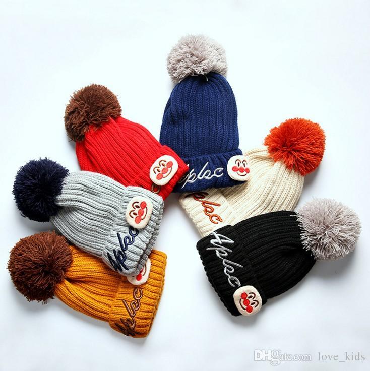 Kids Cartoon Winter Knitted Hat Pompom Ball Warmer Wool Fur Baby ... 72f16193c241