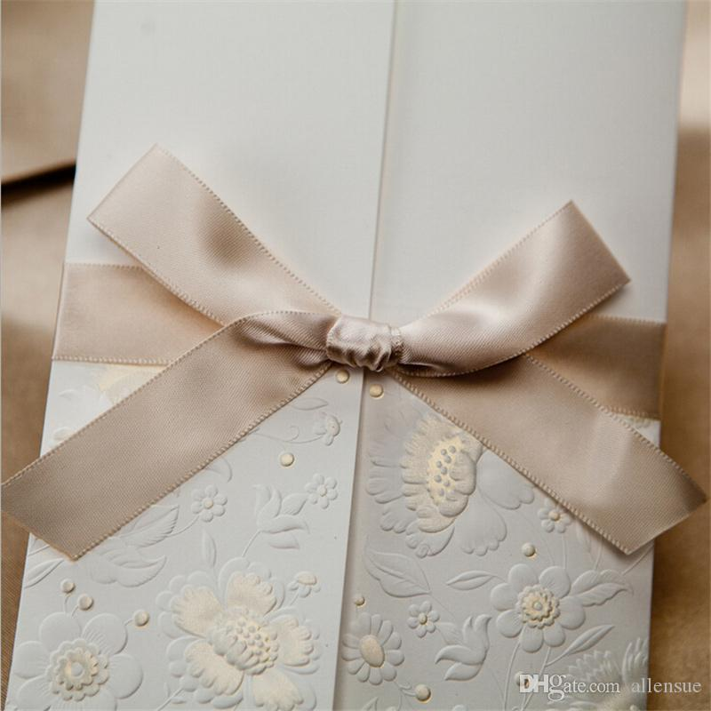 Flower Embossed Wedding Invitation Card With Ribbon Bowknot