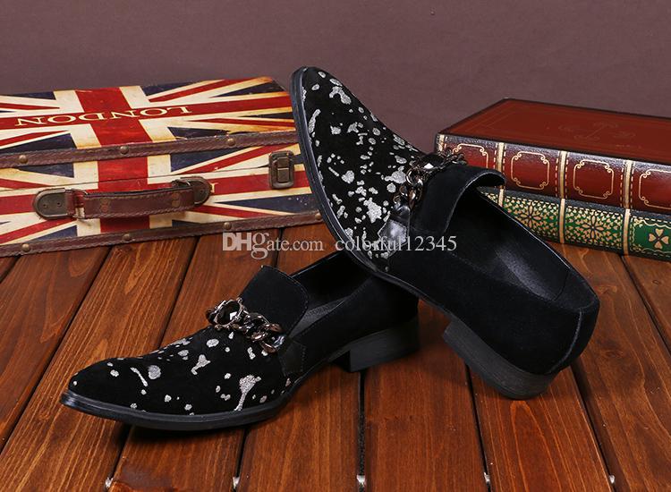 Zapatos de cuero de los holgazanes Italia Tipo del varón adulto de los holgazanes de los zapatos del Rhinestone de los nuevos hombres de los hombres zapatos negros
