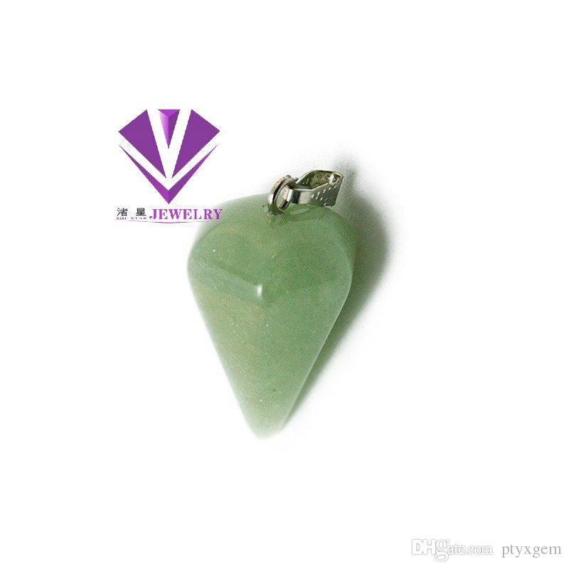 Women Natural Gemstone Pendant Necklace Crystal Healing Chakra Reiki Silver Stone Hexagonal Prisme Cone Pendulum Charm Necklaces