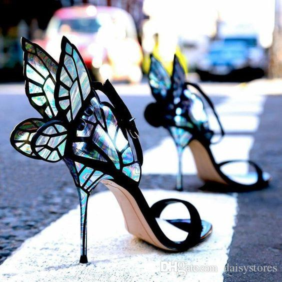 Newest Classic Butterfly Angel Wing Party Dress Sandals Sequined Bling Sexy High Heels Shoes Metallic Thin Heels Pumps Shoes