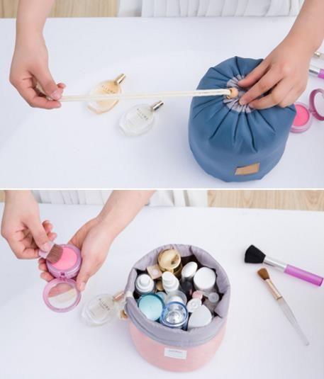 Novo Coreano 2017 elegante grande capacidade Barril Shaped Nylon Organizador De Armazenamento De Viagem Cômoda Bolsa Maquiagem Cosméticos Saco Para As Mulheres