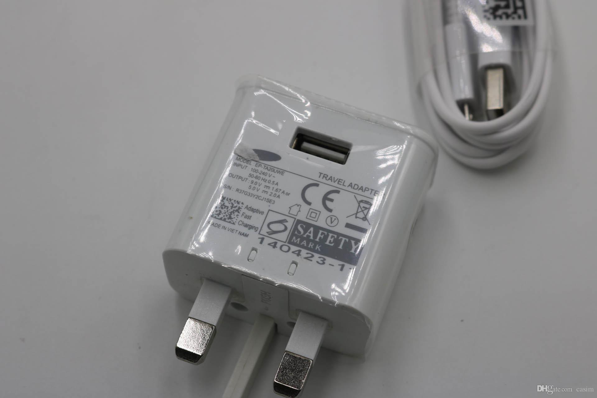 Samsung için orijinal 2in1 hızlı şarj 2A 1.2 M samsung s6 s7 Note5 Için zarif perakende ambalaj ile uygulayın